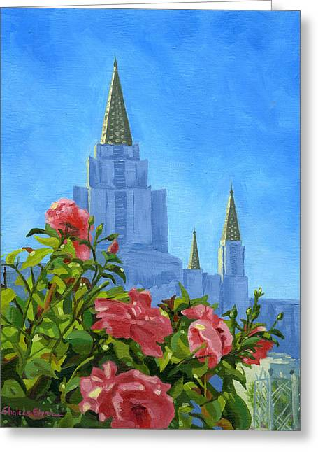 Oakland Paintings Greeting Cards - Oakland California LDS Temple Greeting Card by Shalece Elynne