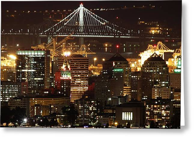Alcatraz Greeting Cards - Oakland California Skyline Greeting Card by Nomad Art And  Design