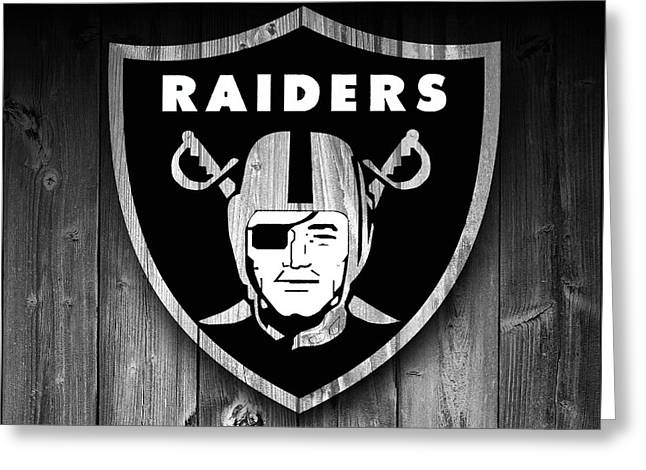 Oakland Raiders Barn Door Greeting Card by Dan Sproul