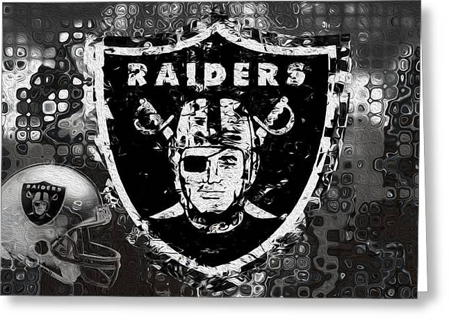 Head Digital Art Greeting Cards - Oakland Raiders Greeting Card by Jack Zulli