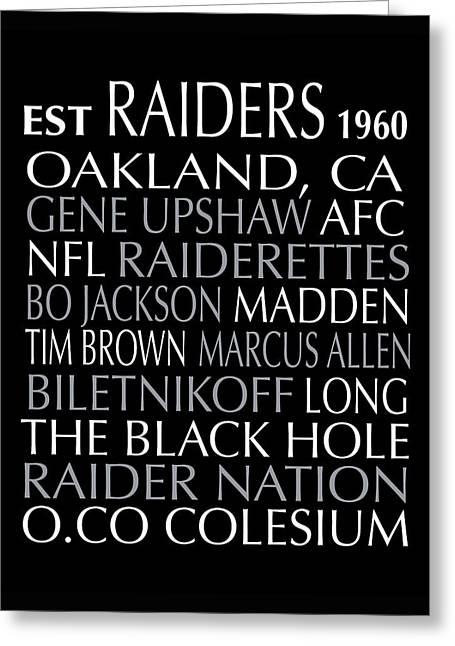 Oakland Raiders Greeting Card by Jaime Friedman
