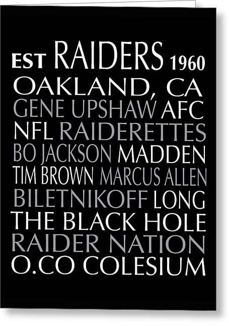 Football Words Greeting Cards - Oakland Raiders Greeting Card by Jaime Friedman
