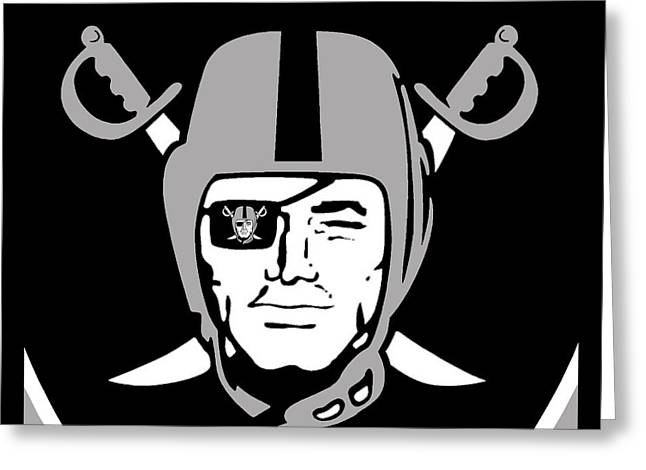 Nfl Mixed Media Greeting Cards - Oakland Raiders Greeting Card by Tony Rubino