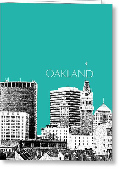Oakland Skyline 1 - Teal Greeting Card by DB Artist