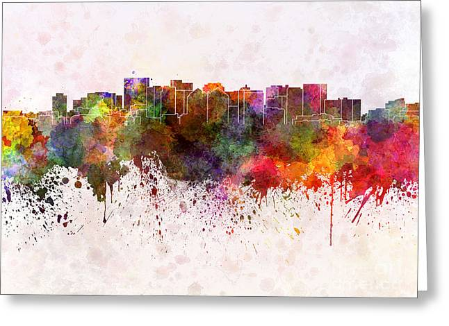 Oakland Paintings Greeting Cards - Oakland skyline in watercolor background Greeting Card by Pablo Romero