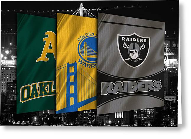 Raider Greeting Cards - Oakland Sports Teams Greeting Card by Joe Hamilton