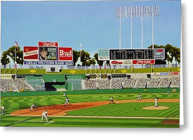Baseball Stadiums Paintings Greeting Cards - Oakland Greeting Card by Thomas  Kolendra