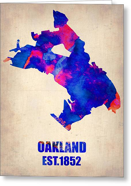 California Art Greeting Cards - Oakland Watercolor Map Greeting Card by Naxart Studio