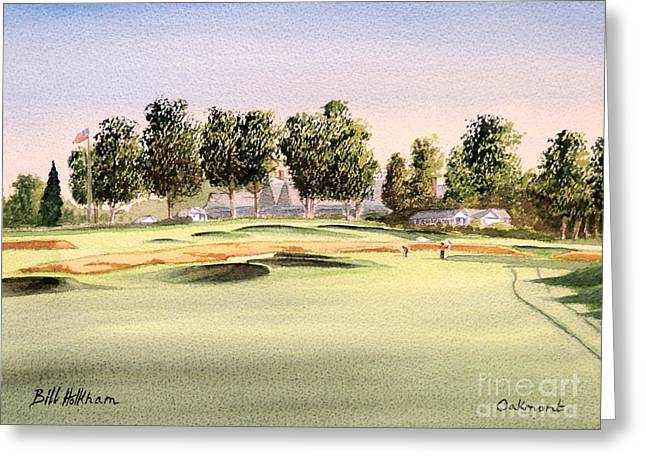 Nicklaus Greeting Cards - Oakmont Golf Course 14TH Greeting Card by Bill Holkham