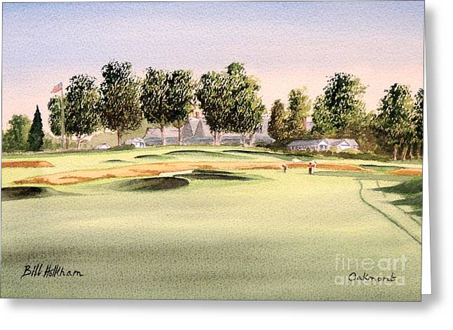 Us Open Golf Greeting Cards - Oakmont Golf Course 14TH Greeting Card by Bill Holkham