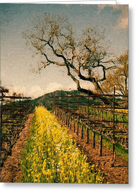 Sonoma Mixed Media Greeting Cards - Oaks in the Vineyard Greeting Card by John K Woodruff