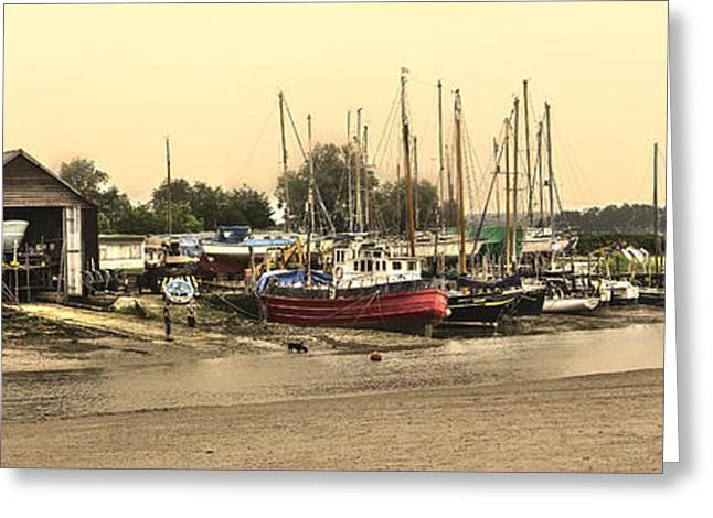 Fishing Creek Greeting Cards - Oare Creek panorama Greeting Card by Ian Hufton