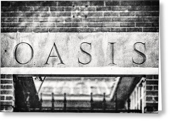 Entryway Greeting Cards - Oasis - Dallas Texas Black and White Photograph Greeting Card by Lisa Russo