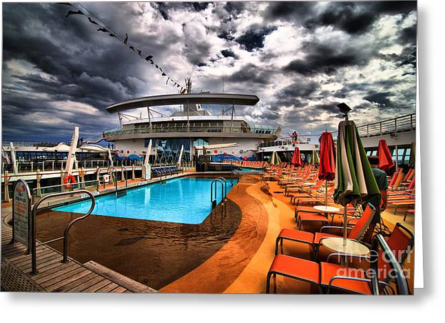 Pool Deck Greeting Cards - Oasis if the Seas Pool Deck - HDR Greeting Card by Amy Cicconi