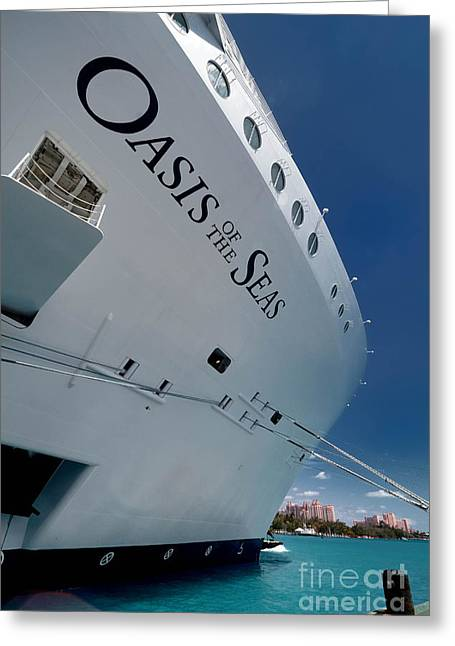 Boat Cruise Greeting Cards - Oasis of the Seas docked at Nassau Bahamas Greeting Card by Amy Cicconi