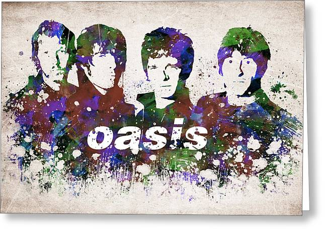 Morning Glories Greeting Cards - Oasis Portrait Greeting Card by Aged Pixel