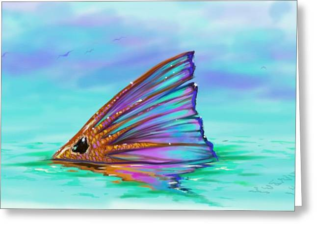 Swordfish Digital Art Greeting Cards - Oasis  Greeting Card by Yusniel Santos