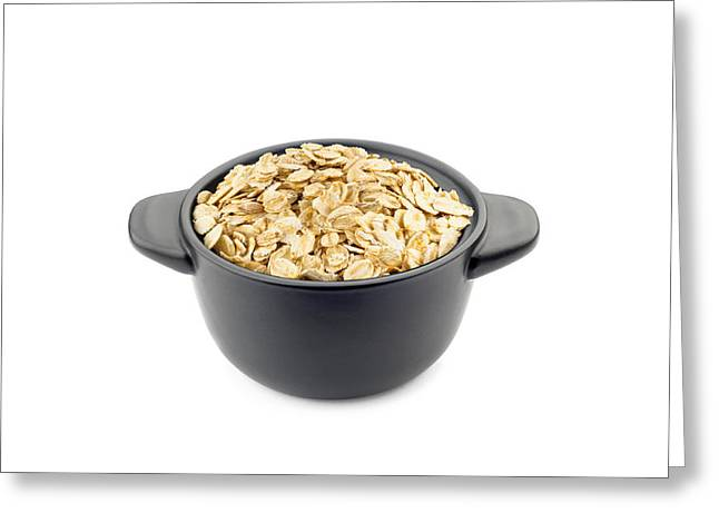 Porridge Greeting Cards - Oat Flakes in a Black Cup Greeting Card by Alain De Maximy