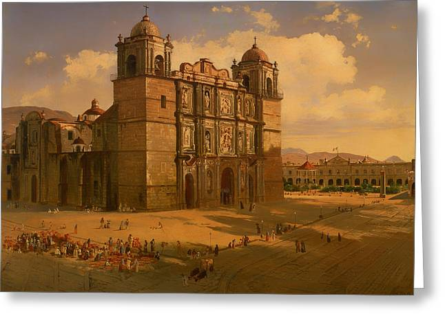 Mexico City Paintings Greeting Cards - Oaxaca Cathedral Greeting Card by Jose Velasco