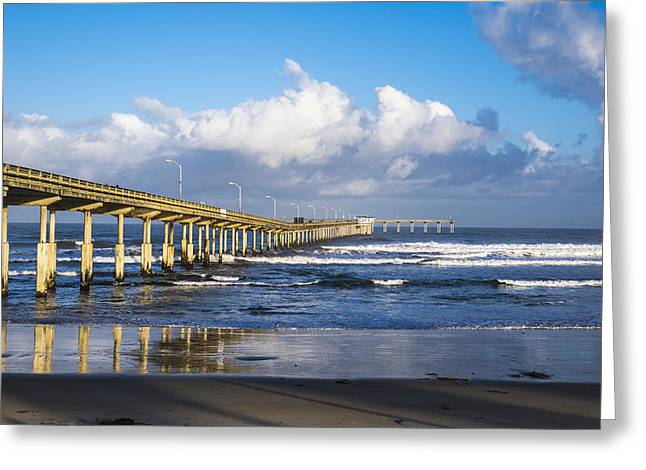 Images Of San Diego Greeting Cards - OB Pier Greeting Card by Joseph S Giacalone