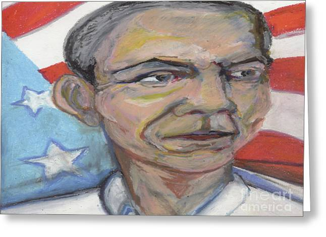 Barack Obama Pastels Greeting Cards - Obama 2012 Greeting Card by Derrick Hayes