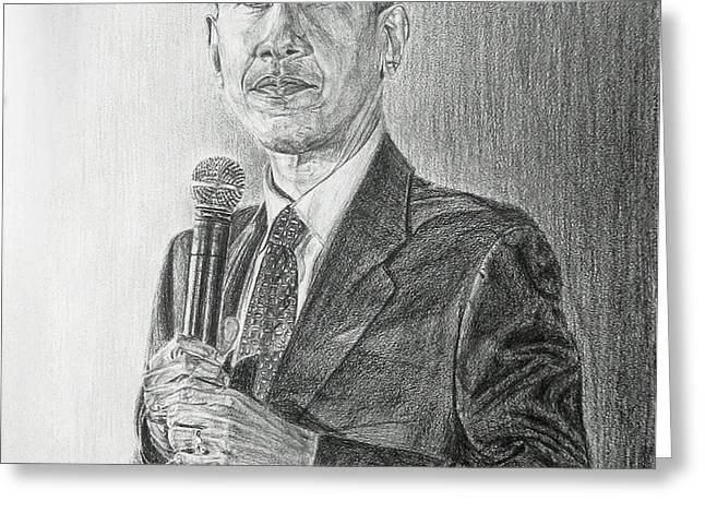 Obama 3 Greeting Card by Michael Morgan