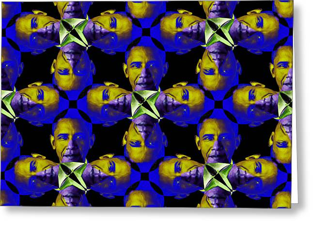 President Obama Pop Art Greeting Cards - Obama Abstract 20130202m118 Greeting Card by Wingsdomain Art and Photography