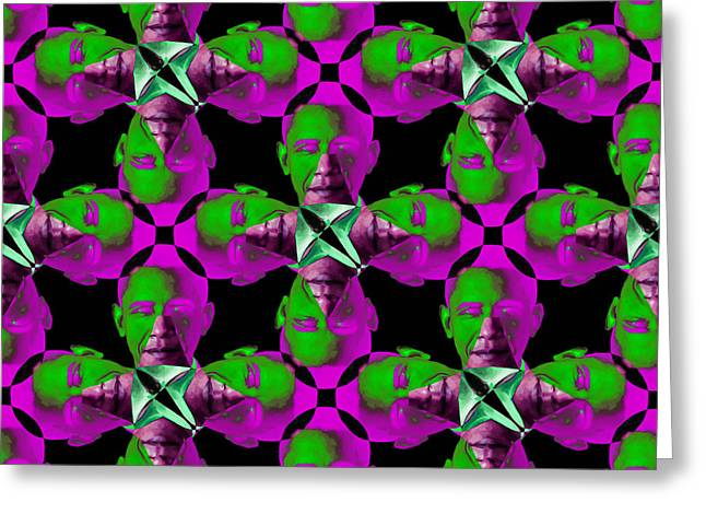 President Obama Pop Art Greeting Cards - Obama Abstract 20130202m60 Greeting Card by Wingsdomain Art and Photography