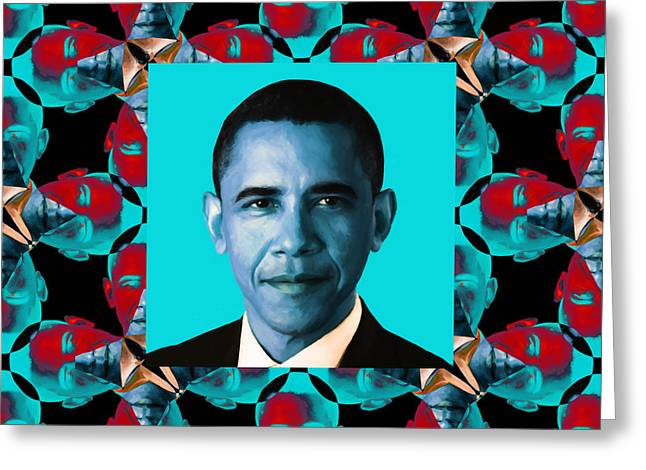 President Obama Pop Art Greeting Cards - Obama Abstract Window 20130202m180 Greeting Card by Wingsdomain Art and Photography