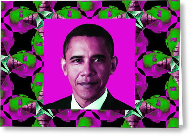 President Obama Pop Art Greeting Cards - Obama Abstract Window 20130202m60 Greeting Card by Wingsdomain Art and Photography