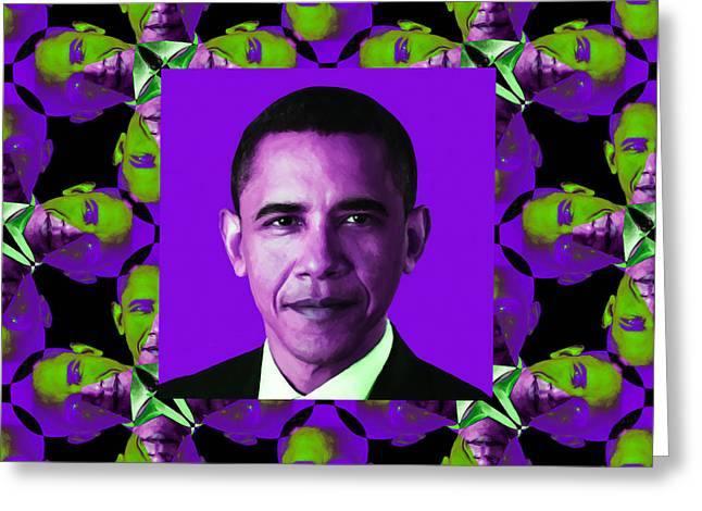 President Obama Pop Art Greeting Cards - Obama Abstract Window 20130202m88 Greeting Card by Wingsdomain Art and Photography
