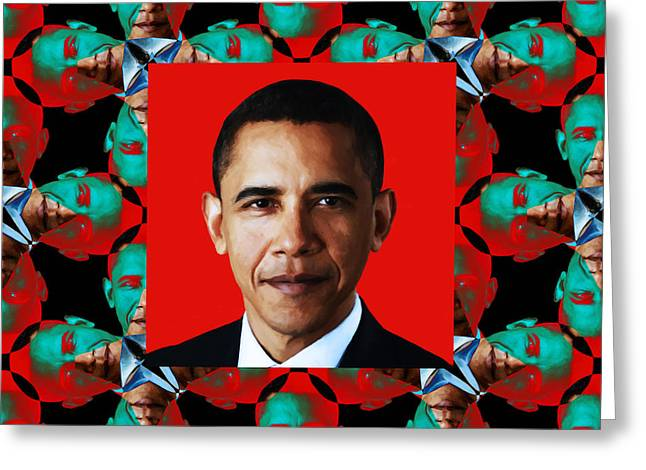 President Obama Pop Art Greeting Cards - Obama Abstract Window 20130202p0 Greeting Card by Wingsdomain Art and Photography