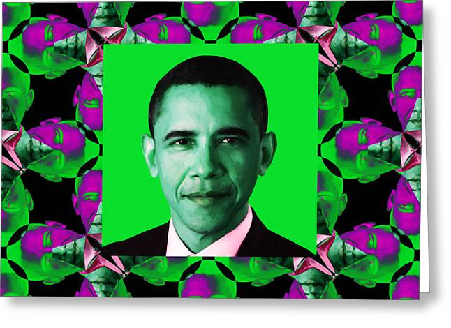 President Obama Pop Art Greeting Cards - Obama Abstract Window 20130202p128 Greeting Card by Wingsdomain Art and Photography