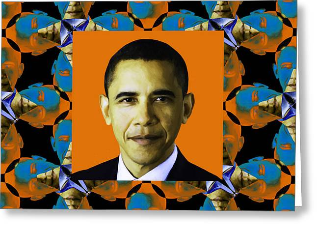 President Obama Pop Art Greeting Cards - Obama Abstract Window 20130202p28 Greeting Card by Wingsdomain Art and Photography