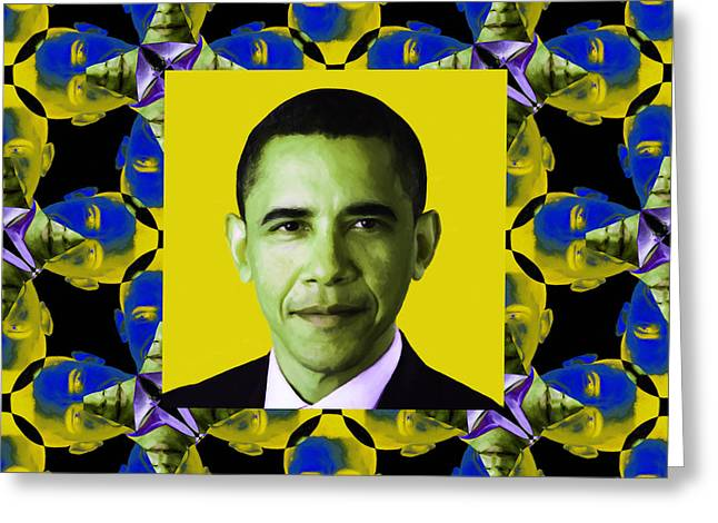 Obama Abstract Window 20130202p55 Greeting Card by Wingsdomain Art and Photography