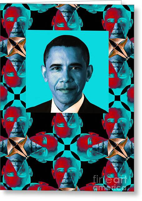 President Obama Pop Art Greeting Cards - Obama Abstract Window 20130202verticalm180 Greeting Card by Wingsdomain Art and Photography