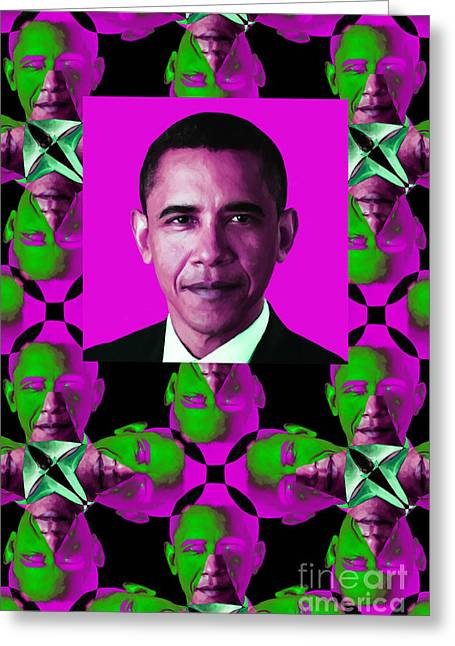 President Obama Pop Art Greeting Cards - Obama Abstract Window 20130202verticalm60 Greeting Card by Wingsdomain Art and Photography