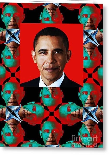President Obama Pop Art Greeting Cards - Obama Abstract Window 20130202verticalp0 Greeting Card by Wingsdomain Art and Photography