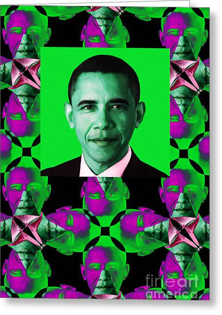 President Obama Pop Art Greeting Cards - Obama Abstract Window 20130202verticalp128 Greeting Card by Wingsdomain Art and Photography