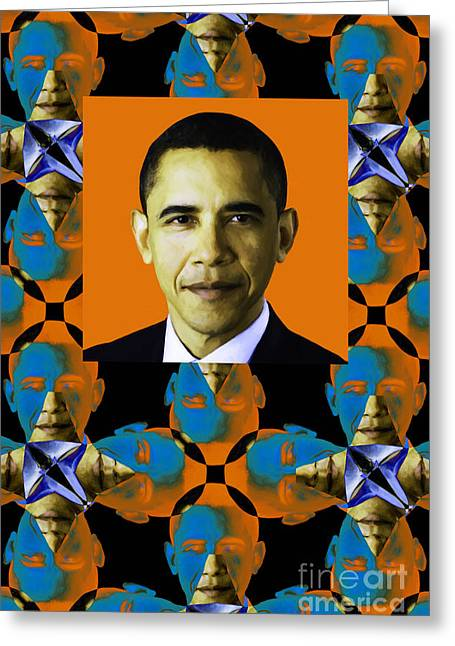 President Obama Digital Art Greeting Cards - Obama Abstract Window 20130202verticalp28 Greeting Card by Wingsdomain Art and Photography