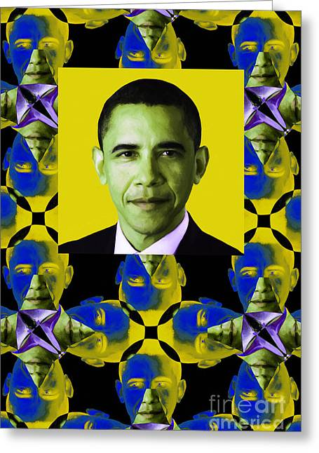 President Obama Pop Art Greeting Cards - Obama Abstract Window 20130202verticalp55 Greeting Card by Wingsdomain Art and Photography