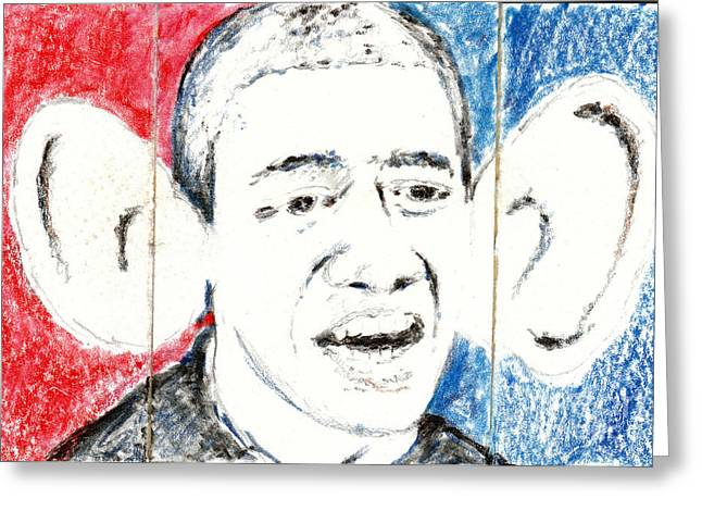 Barack Obama Action Figure Triptych Greeting Card by Art Now And Here