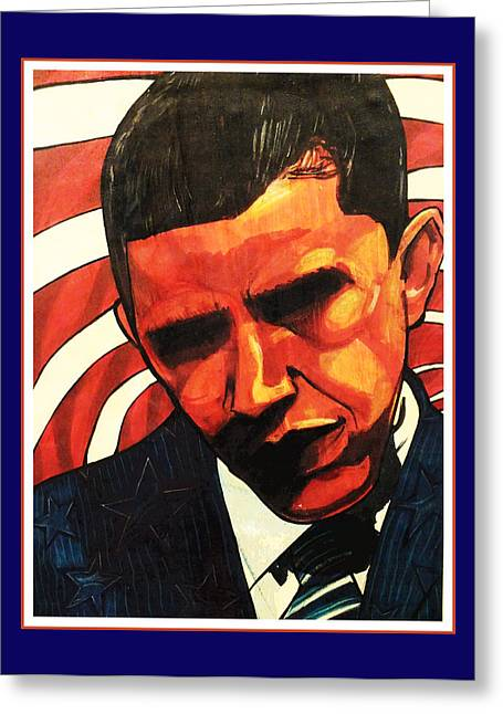 44th President Greeting Cards - Obama Greeting Card by Boze Riley