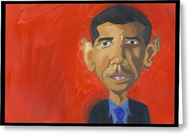 Obama Caricature Greeting Card by Isaac Walker