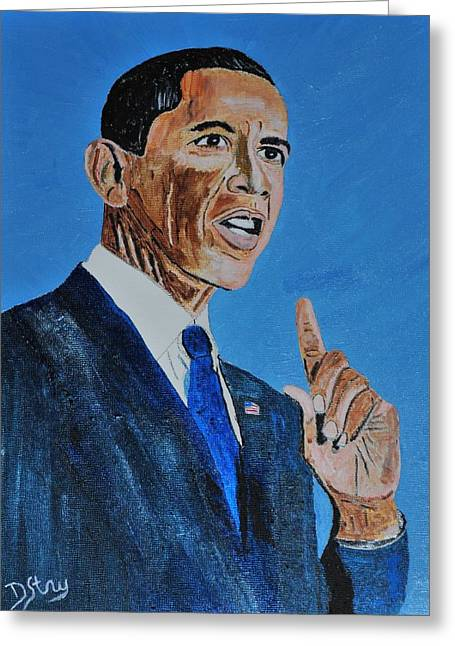 American Politician Mixed Media Greeting Cards - Obama Greeting Card by Deborah Stanley