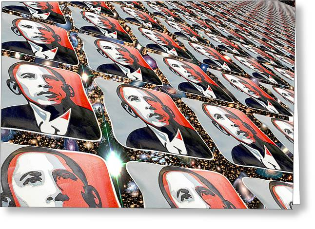 President Obama Greeting Cards - Obama Galactic Perspectives Greeting Card by Nicholas Romano