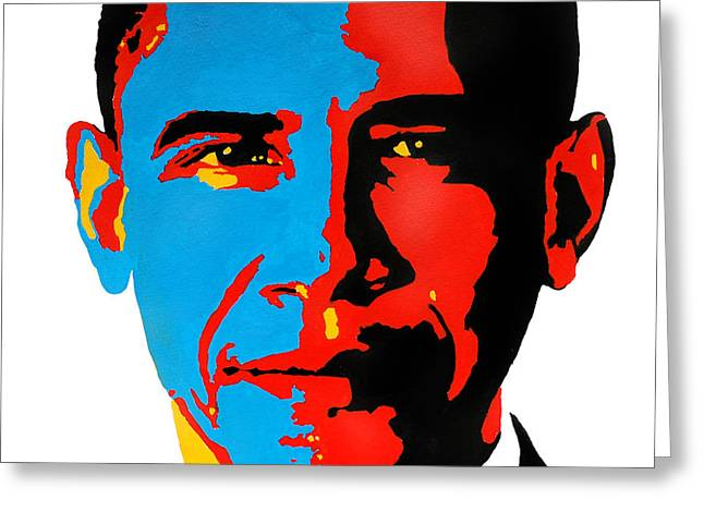 Obama Gouached Greeting Card by Nancy Mergybrower