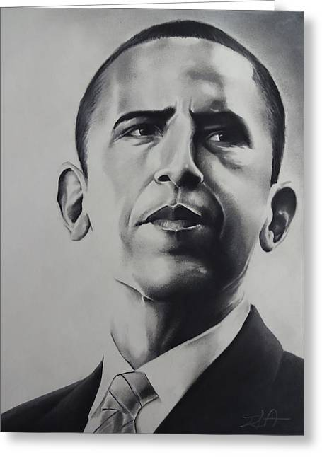 President Pastels Greeting Cards - Obama Greeting Card by Idorenyin Sam Awak