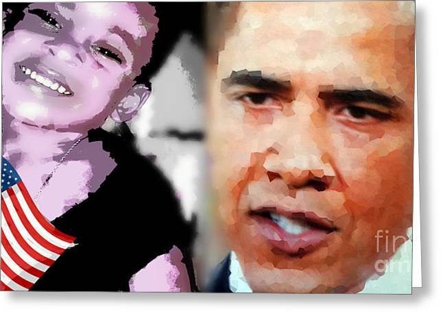 Obama - If I Had A Son He Would Look Like Me Greeting Card by Fania Simon