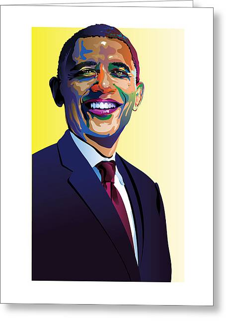 President Obama Greeting Cards - Obama in color Greeting Card by Neil Garrison